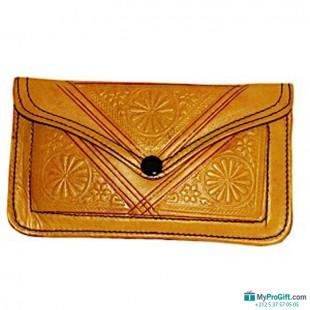 Porte-monnaie en cuir jaune-104520
