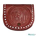 Porte-monnaie en cuir brun-104504