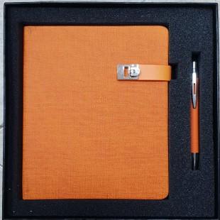 Coffret bloc-notes + stylo Orange-106682